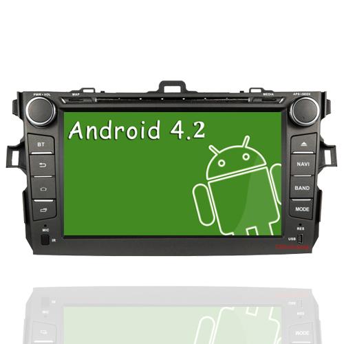 HD 1024*600 16G Flash Android 4.2 Car DVD Radio for Toyota Corolla 2007-2012+Glonass with Dual Core 1G CPU 1G RAM,BT,TV,Free Map(China (Mainland))
