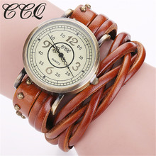 CCQ Brand Fashion Vintage Retro Rivet Braided Genuine Leather Bracelet  Watch Women Quartz Watch Clock Relogio Feminino 1513