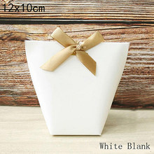 """5 stücke Weiß Schwarz Kraft Papier Tasche Bronzing Französisch """"Merci"""" Danke Geschenk Box Paket Hochzeit Party Favor candy Box Mit Band(China)"""