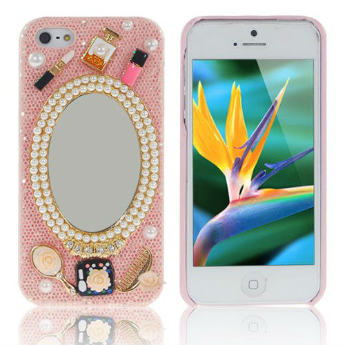Handmade Ellipsoid Mirror Pearl Flash Plastic Case Hard Cover For Iphone 5G 5(China (Mainland))