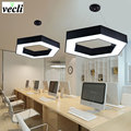36W Hot fashion hexagon led pendant lamps geometric office dining room chandelier living room bedroom kitchen