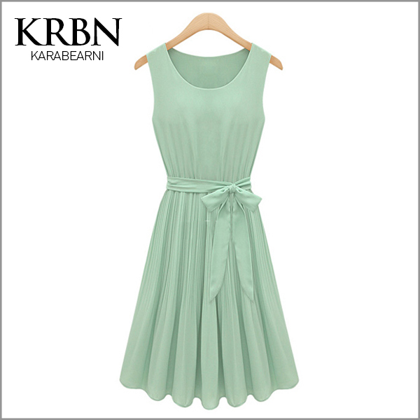 ladies summer dress 2015 Women Dress chiffon maxi dress Casual sleeveless plus size solid green Party dress A1005(China (Mainland))