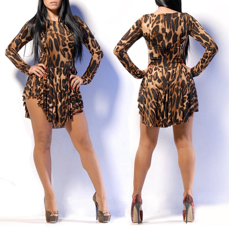 US/UK/GB/ES STOCK !! Hot Sexy Leopard Night Club Party Dress Long Sleeve Women Dress Fashion Casual Summer Dresses J*50CE3219#s4(China (Mainland))