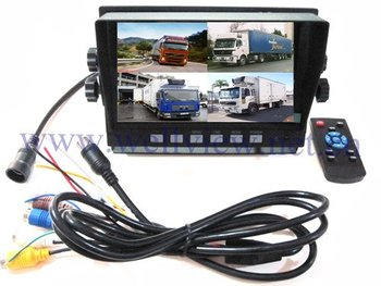 "800*480 Car TFT Split Screen 7"" Monitor,DC12V~24V Input,4CH Quad"