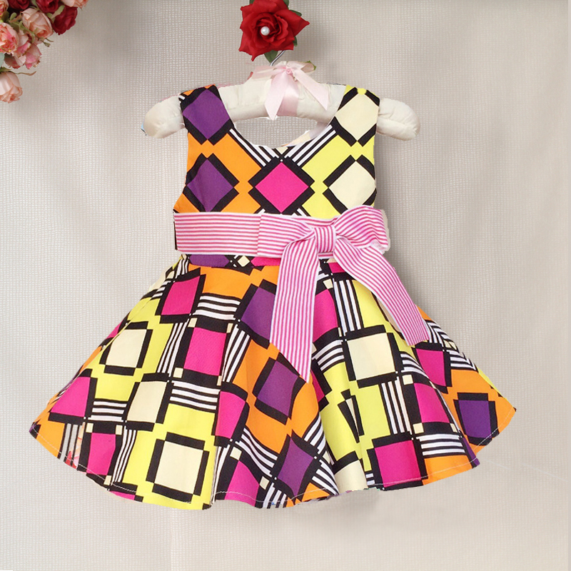 1-6yrs New Baby Girl Dress Fashion Summer girls brand Plaid Dress with striped belt child clothing casual toddler clothes(China (Mainland))