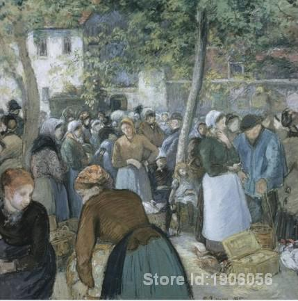 Landscape oil paintings, Camille Pissarro's reproduction - Poultry Market, Gisors, hand-painted high quality, free shipping(China (Mainland))