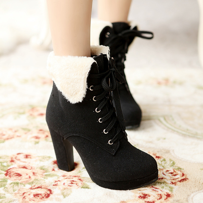 Plus Size 34-43 New 2015 Winter Women Ankle Boots Thick High Heel Fashion Warm Women Snow Boots Brand Lacing Casual Shoes(China (Mainland))