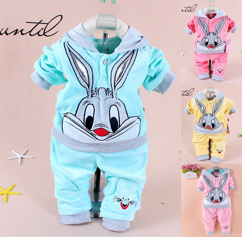 1 Sets retail. 2015 Spring/Autumn baby set cartoon rabbit velvet set twinset long sleeve set hoodie and pant children clothing(China (Mainland))