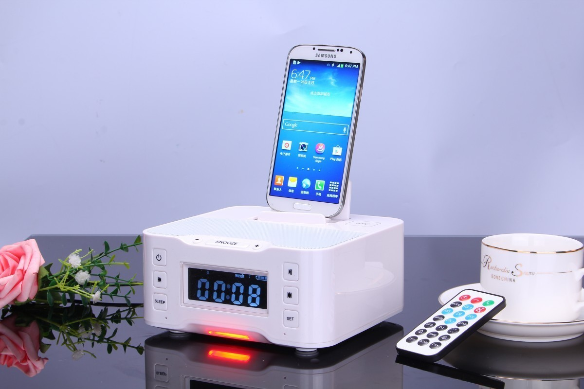 nfc snooze clock docking station bluetooth speaker for ipod iphone 6 6s 5 5s in speakers from. Black Bedroom Furniture Sets. Home Design Ideas