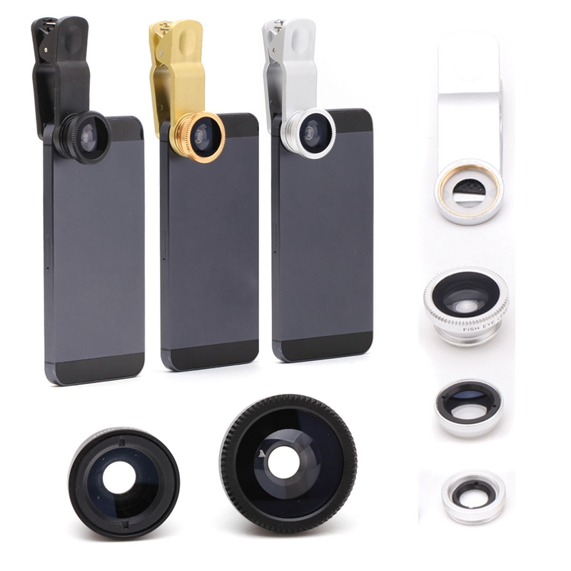 Cheapest Universal Black 3 in1 Photo Clip Kit Lens + Fisheye Lens + Wide Angle Macro Lens 2016 New HOT lente olho de peixe
