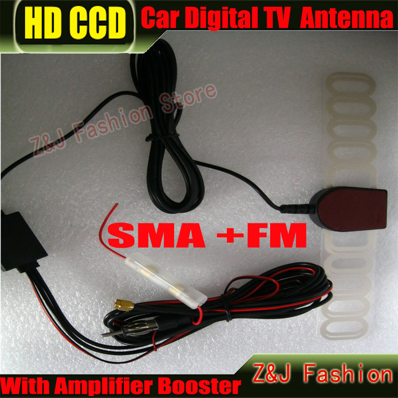 Car Digital DVB-T TV Antenna Car TV Antenna ANT29db 2 In 1 Booster Antenna Aerial SMA+FM Radio free shipping(China (Mainland))