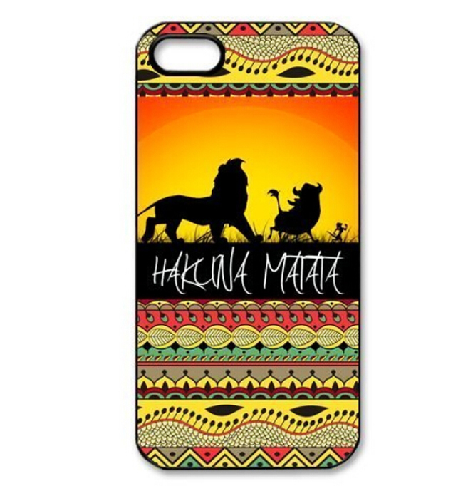 2014 Customized Hakuna Matata Sunset Lion King Hard Plastic Mobile Protective Phone Case Cover Iphone 4 4S 5 5S - ShoppingCenter store