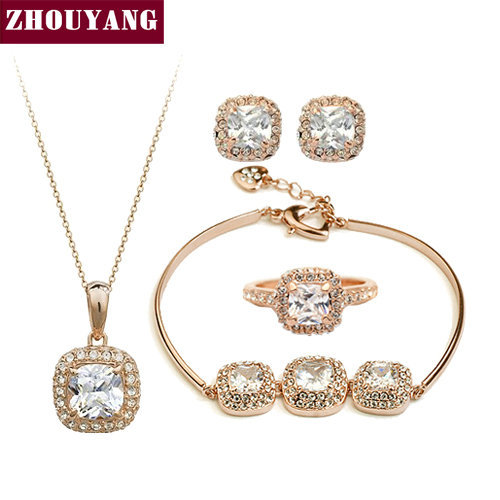 Top Quality ZYS172 18K Gold Plated Elegant  Wedding Jewelry Necklace Earrings Ring Blacelet Set Made with Austrian  Crystals