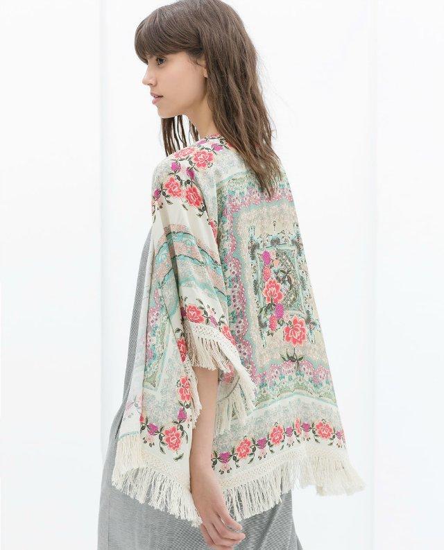 2015 New Fashion Women Kimono Cardigan Vintage Flower Printed Tassel Blouses femininas blusas Ladies Long sleeve Tops(China (Mainland))