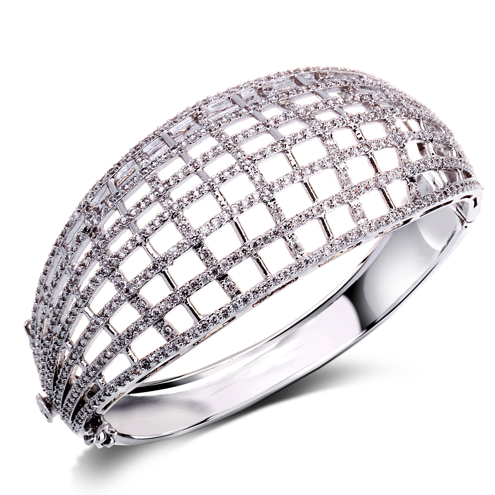 Hollow Fashion Design Woman Prong Setting Cubic Zircon Round Deluxe Bangle Lead Free Platinum &amp; 18K Gold Plating Bridal Jewelry<br><br>Aliexpress