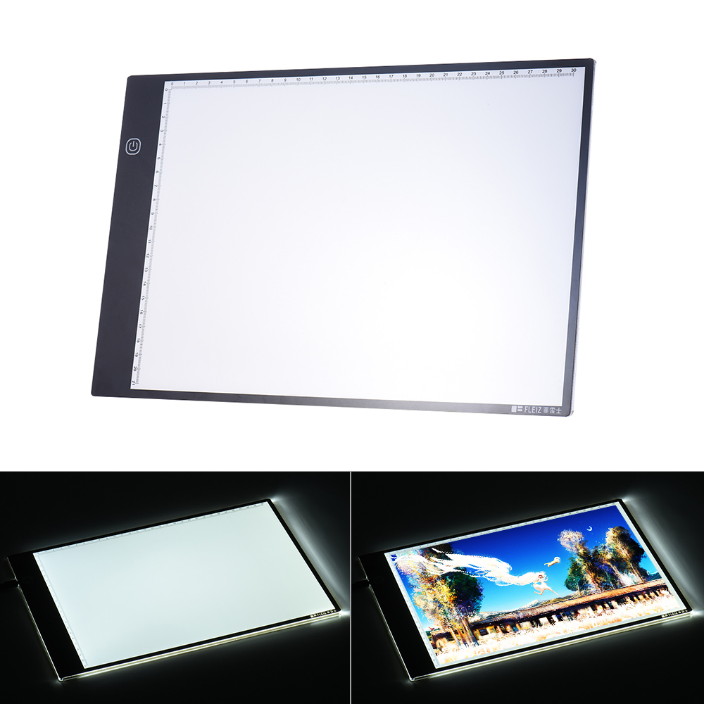 Portable A4 LED Light Pad Box Drawing Tracing Tracer Copy Board Led Pad Panel Copyboard with 3-mode Brightness Black Edge Scale(China (Mainland))
