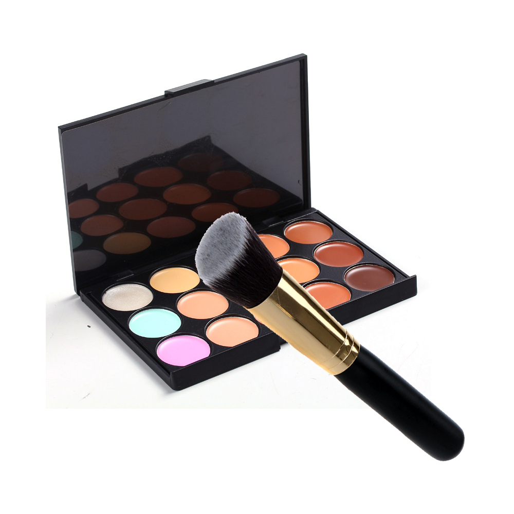 Cosmetic Kabuki Brush Face Make Up Blusher Powder Foundation brush Make-up Tool Tilted Top+15 Color Pro Camouflage Concealer(China (Mainland))