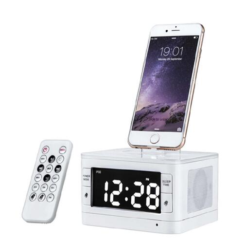 Brand LCD Digital FM Radio Alarm Clock Music Dock Charger Station Bluetooth Stereo Speaker for iPhone 5 5s for Iphone6 6s(China (Mainland))