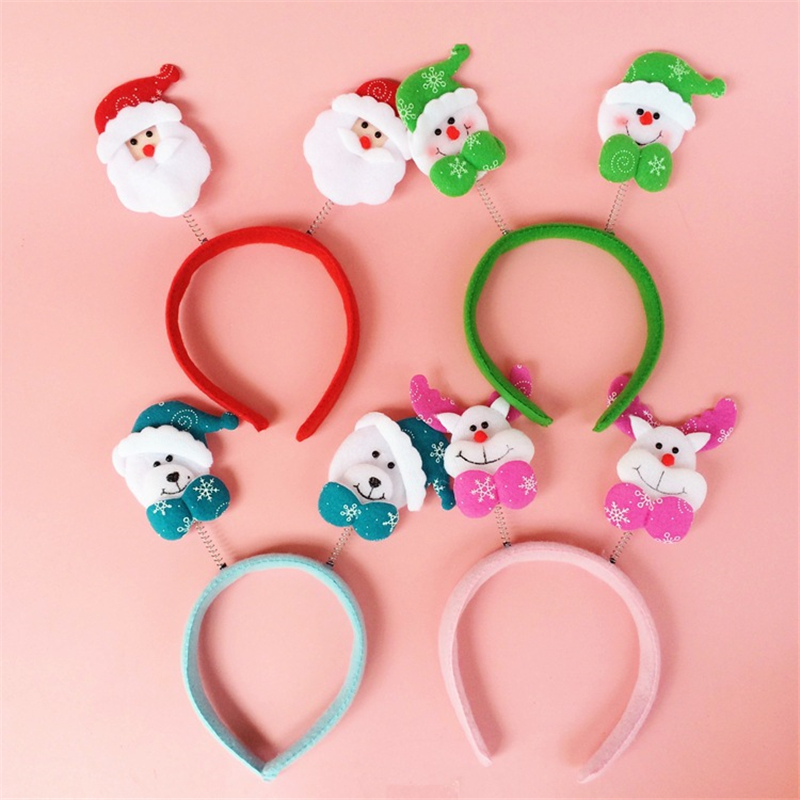 2016New Father Christmas Deer Bear Hairbands Jubilant Women Men Kids Christmas Headband Festival New Year Crown Hair Accessories(China (Mainland))