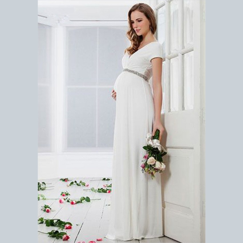2015 elegant white chiffon pregnant wedding dress custom for Pregnancy dress for wedding
