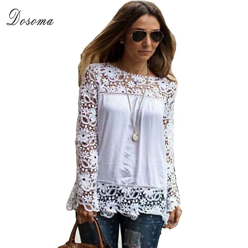 2015 New Women White Crochet Lace Shirt Female Floral Lace Long Sleeve Chiffon Blouse Lace Blusas Plus Size S-5XL(China (Mainland))