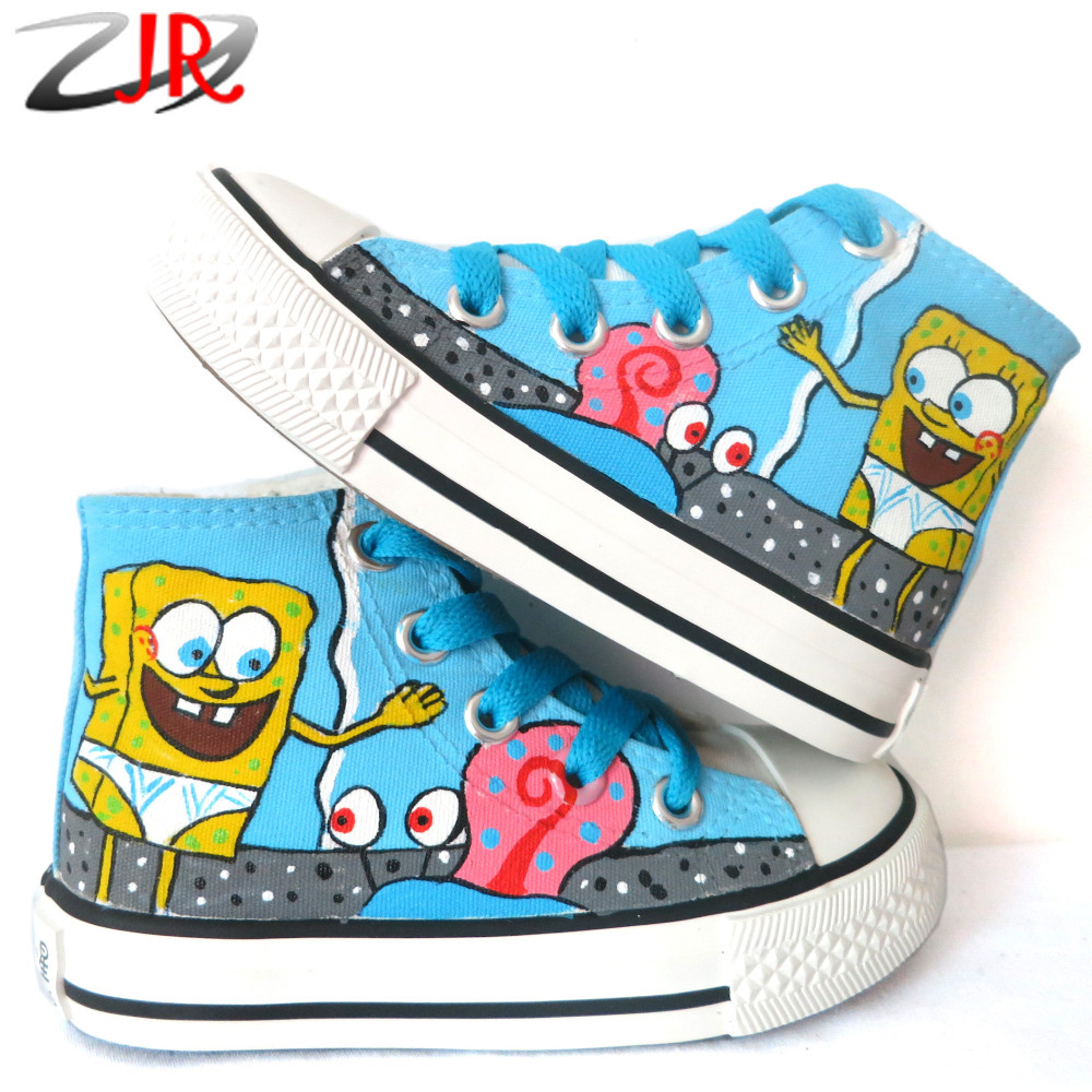 SpongeBob Expression Style Canvas Shoes Kids Sneakers Children Girls Boys High Hand-painted Size 23-40 - YI JIN RAN Customizable Hand Painted Store store