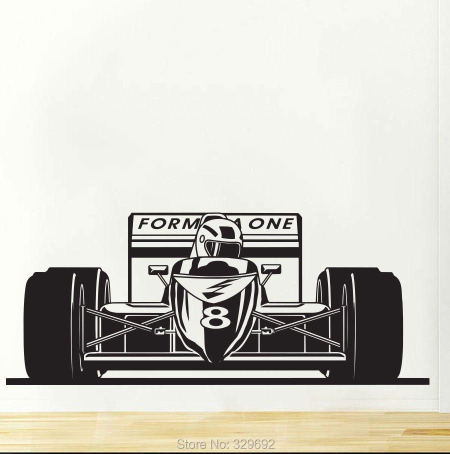 free shipping Formula 1 One Racing Sports Car Wall Decal Art Boys Room Decor Sticker tx-249(China (Mainland))