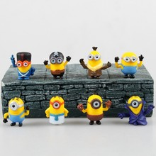 8pcs/set Mini Minions Toy Despicable Me Minion Toys 4cm Decorations Ornament Model Christmas Gift Doll Minion Brinquedos(China (Mainland))