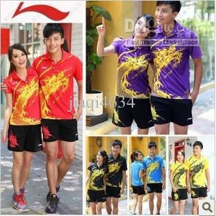 Li-ning Suit li ning shirt  womens or Men's table tennis shirt+shorts ping pong shirt table tennis 003(China (Mainland))