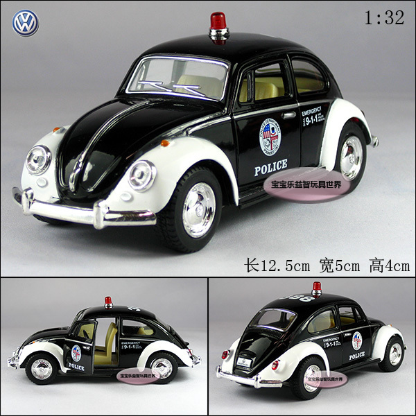 new volkswagen 1967 beetle coupe police car 1 32 diecast model car black toy collection b130. Black Bedroom Furniture Sets. Home Design Ideas