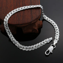 High quality fashion silver plated bracelet men 5MM flat sideways chain 2016 new hot sales jewelry best gifts
