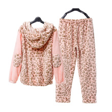 Song Riel winter casual long sleeved flannel pajamas can Waichuan Ms thicker Pyjamas Set shadows butterflies