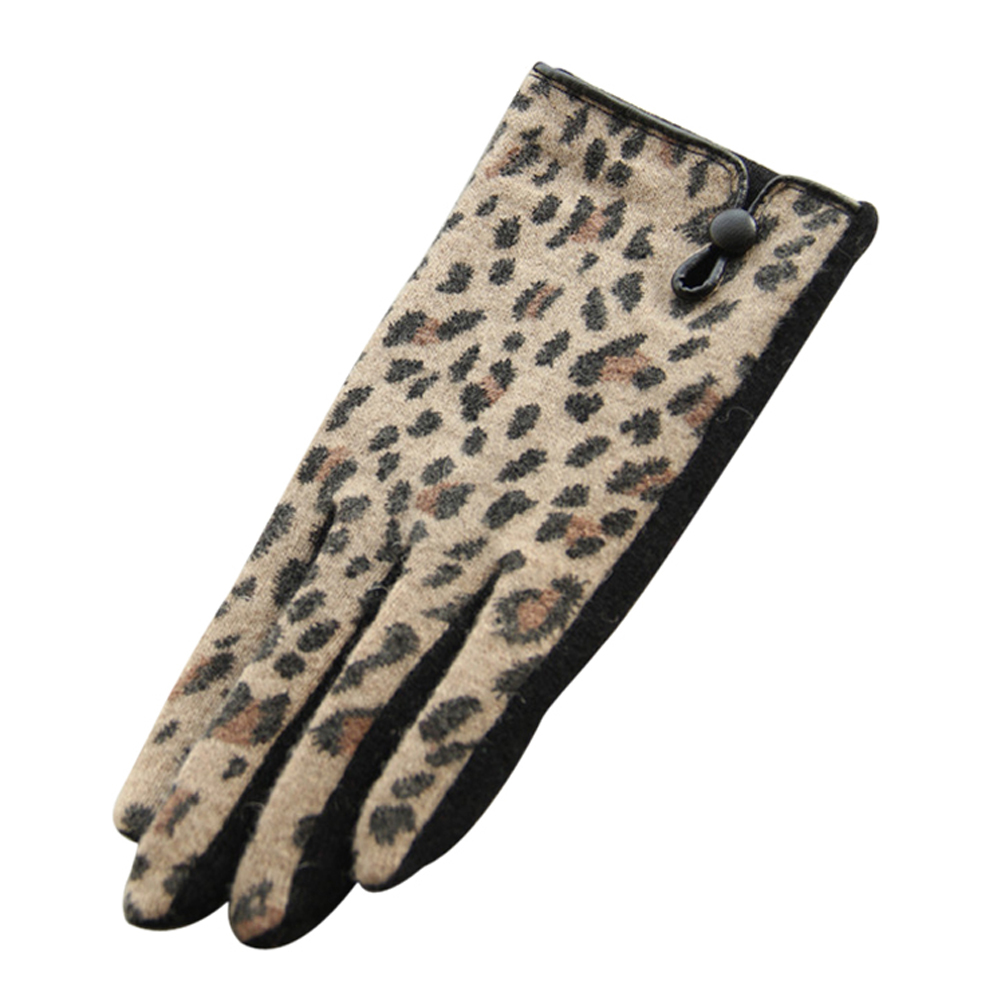 SEWS Pair of Black Stylish Leopard Print Splice Design Gloves For Women(China (Mainland))