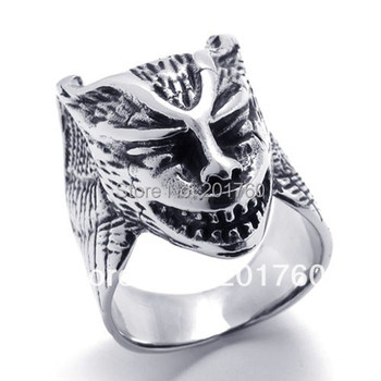 Punk rock accessories stainless steel Casting animals Wolf ring men punk Band Rings 74907 free shipping