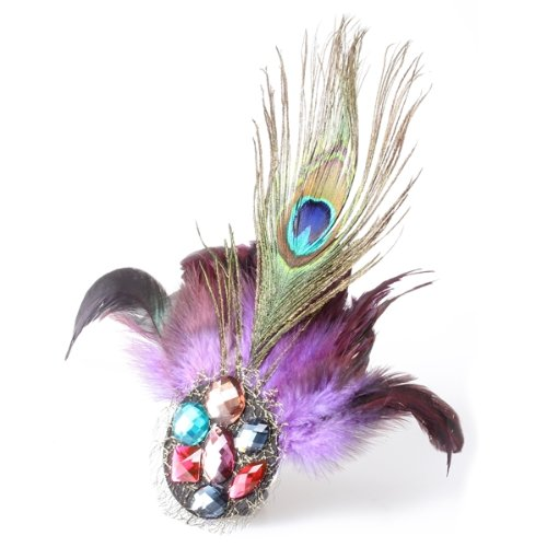 New Queen! Purple Peacock Feather Crystal Rhinestone Hair Clip Fascinator(China (Mainland))