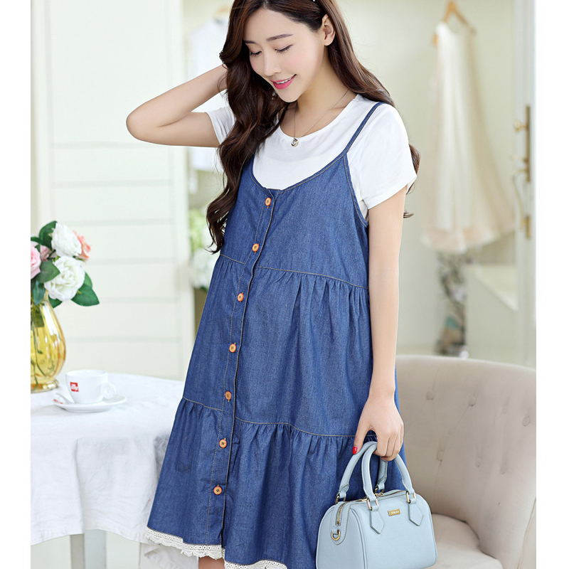 2016NEW~Summer maternity dresses two-piece denim cotton cute dress pregnant women large size comfortable - Fashion clothing store