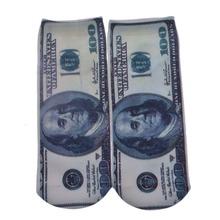 1 пара 3D печать доллар выражение серьги футбол и больше шаблонов хлопок уютный забавный Emoji носки смеяться крик носки