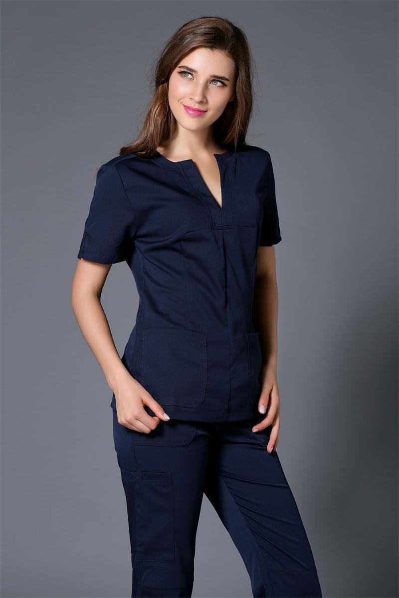 2015 Summer women hospital medical scrub clothes set dental clinic and beauty salon nurse uniform fashionable design slim fit(China (Mainland))