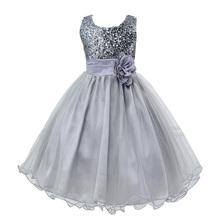 Nueva moda lentejuelas vestido de florista boda cumpleaños princesa del niño bebé chicas ropa niños Kids chicas vestidos(China (Mainland))