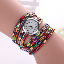 New Fashion Luxury Gemstone Leather Wristwatches Casual Women Dress Quartz Watch Reloj Mujer 2015 Hot