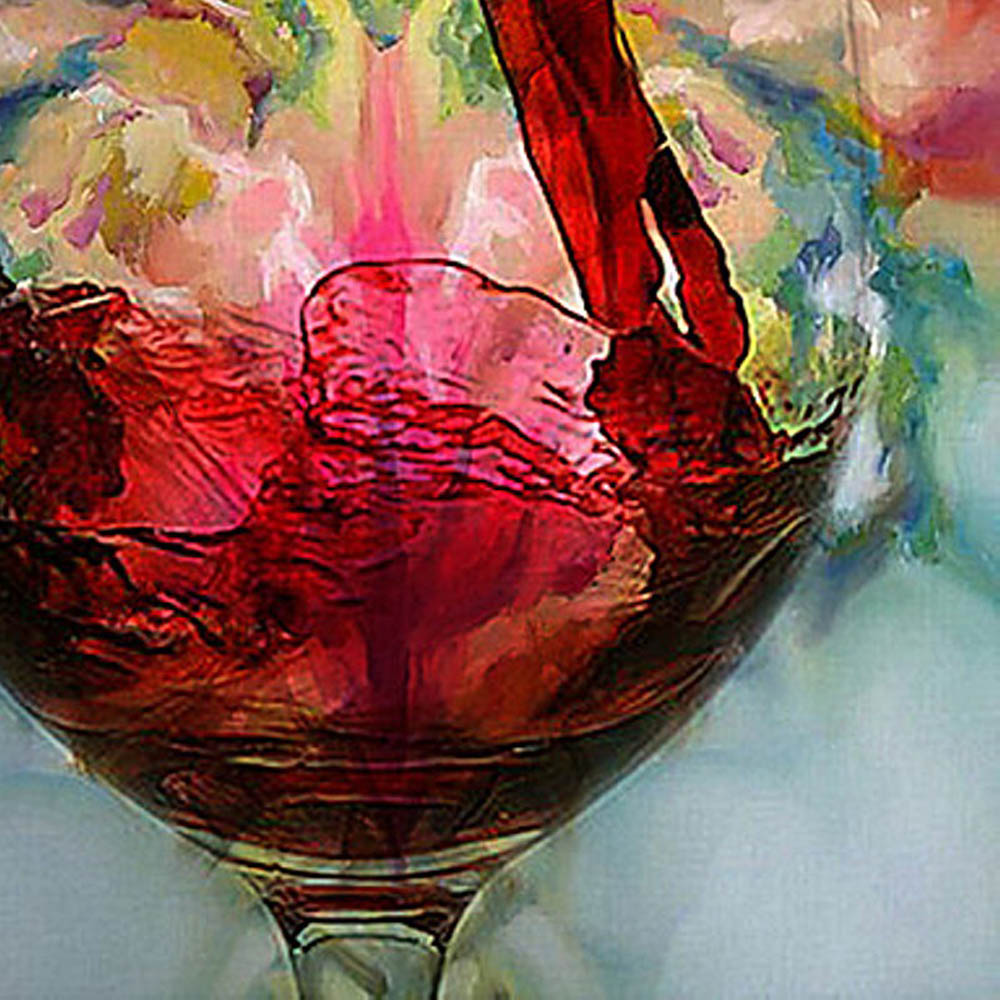 60 70cm hand painted abstract oil painting wine glass for Paint vino