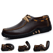 Handmade Genuine Leather Flats Men's Slip On Moccasins Boat Shoes High Quality Loafers Brand New Driving Shoes
