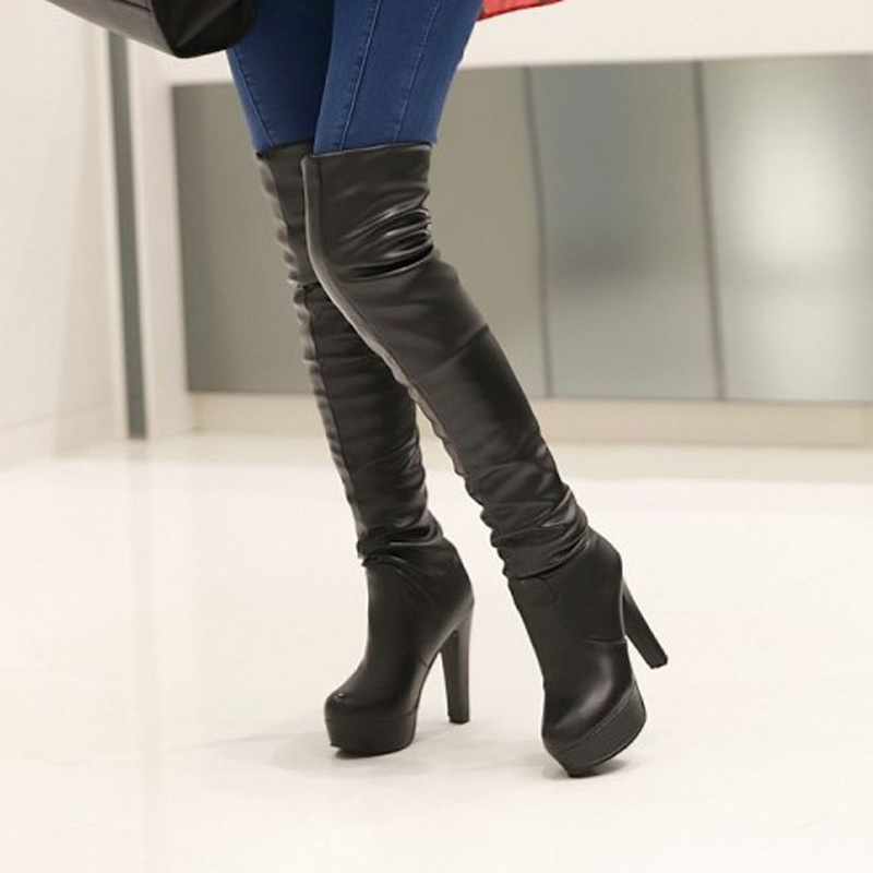 Women Boots Knee High Plus Size 31 45 High Square Heel ...
