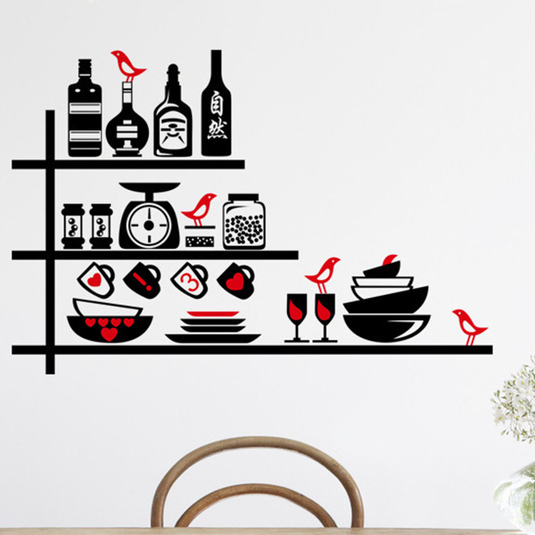 Removable 50x70cm kitchen utensil wine glass wall sticker - Kitchen wall stickers decor ...