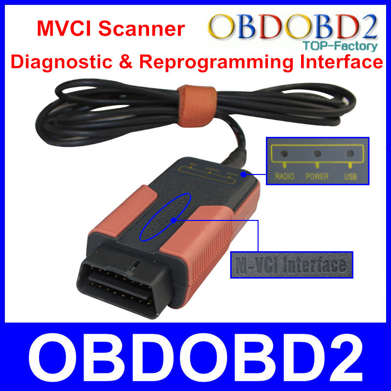 Factory Price MVCI Interface For HDS / TIS / Volvo / LEXUS Support Multi Protocols Key Programming OBDII MVCI Scanner M-VCI(China (Mainland))