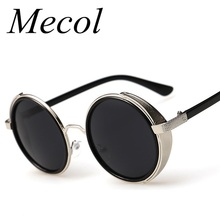 Fashion Metal Frame Gothic Steampunk Sunglasses Women Unique Men Round Coating Sun Glasses Vintage lunettes de soleil homme 185 - Mecol store