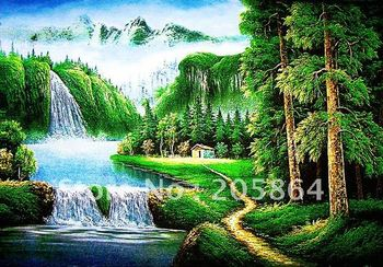 Free shipping tapestry wall hangings,art fabric picture,beautiful landscape picture,wall art of trees and waterfall
