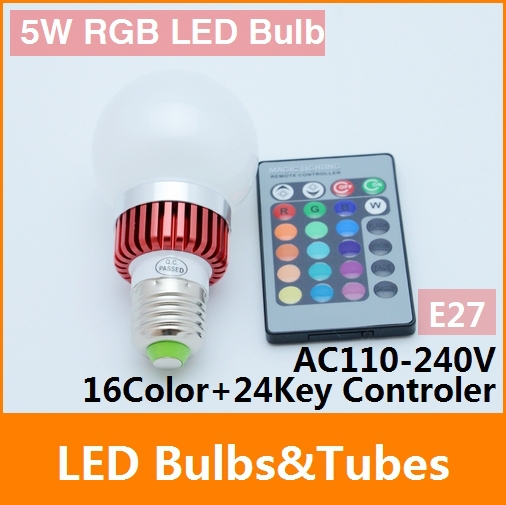 Free shipping 5W E27 RGB LED Bulb 16 Color Change Lamp spotlight 110-240V for Home Party decoration with 24 key IR Remote(China (Mainland))