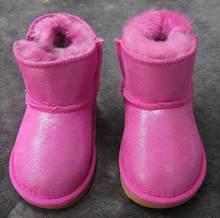Winter Australië Baby Meisjes Snowboots Warme Schapenhuid Leer Bont Baby Botas Waterdichte Baby Boot Jongens Bootie Schoenen Non -slip(China)