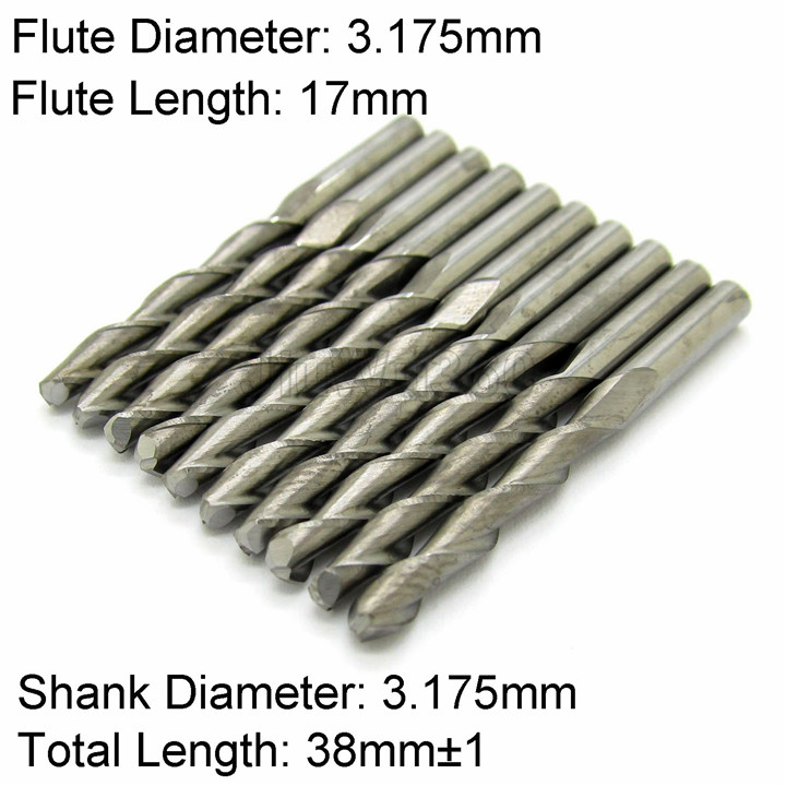 10pcs Double Flute 1/8'' * 17mm End Mill Cutter Milling Machine CNC Cutting Tools(China (Mainland))